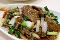 Stir-fried Japanese spring onions with pork